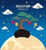 mid autumn celebration card with cute bonsai in full moon scene vector