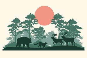 group of animals silhouettes in the jungle vector