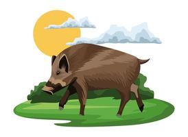 wild tapir animal in the camp landscape vector