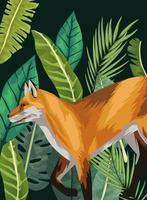 wild fox animal in the jungle scene vector