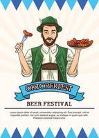 Feliz tarjeta de celebración de oktoberfest con salchichas comiendo hombre alemán vector