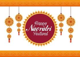 happy navratri celebration card lettering with decorations hanging vector