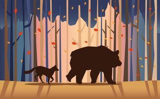 big bear and fox animals in the landscape scene vector