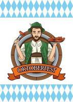 Feliz tarjeta de oktoberfest con hombre alemán comiendo salchichas vector