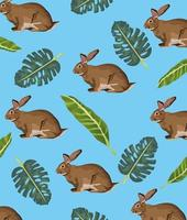 cute rabbits and leafs pattern background vector