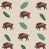 wild tapirs animals pattern background vector