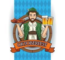 Tarjeta de celebración del Oktoberfest con hombre alemán levantando cervezas y salchichas vector