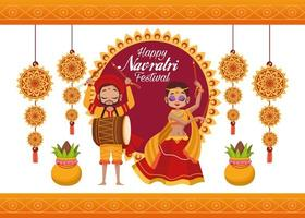 happy navratri celebration card lettering with woman dancing and man playing drum vector