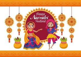 happy navratri celebration card lettering with couple dancing vector