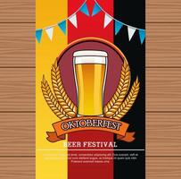 oktoberfest celebration card with beer drink in glass and garlands vector