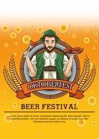Tarjeta de celebración del oktoberfest con salchichas comiendo hombre alemán vector