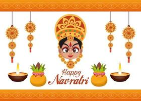 happy navratri celebration card lettering with goddess and candles vector