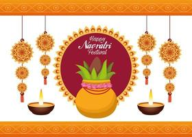 happy navratri celebration card lettering with plant and candles vector