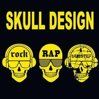 set music sign with skull, vintage design t shirts vector