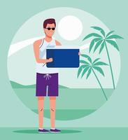 man wearing beach suit with fridge box character vector