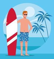 Hombre vestido con traje de playa en carácter de tabla de surf vector