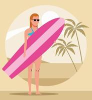 young woman wearing swimsuit with surfboard character vector
