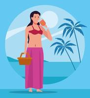young woman wearing swimsuit with basket drinking cocktail character vector