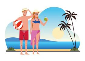 couple wearing swimsuits with coconut cocktail and balloon on the beach scene vector