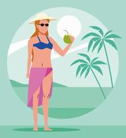 young woman wearing swimsuit drinking coconut cocktail vector