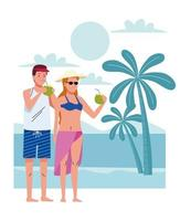 young couple wearing swimsuits drinking coconuts cocktail on the beach scene vector