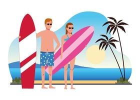 young couple wearing swimsuits with surfboards on the beach scene vector
