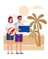 young couple wearing swimsuits with balloon and fridge box on the beach vector