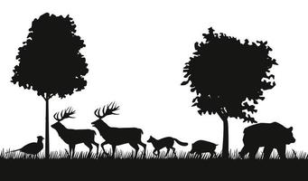 group of animals figures silhouettes in the jungle scene vector