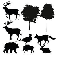 group of animals silhouettes bundle set icons vector