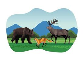 big bear and fox with reindeer animals in the landscape scene vector