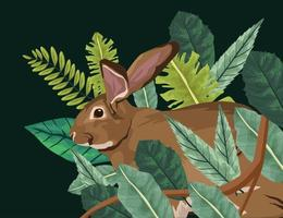 cute rabbit with leafs scene vector