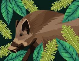 wild tapir animal in the jungle landscape vector