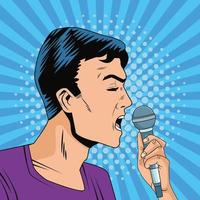 young man with microphone character pop art style vector