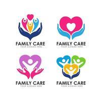 family hand care logo design template vector icon