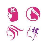 Beauty logo template woman silhouette logo template vector