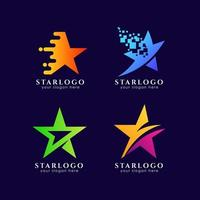 Creative star logo template in gradient color style vector