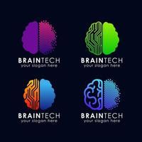 digital brain tech logo template vector icon