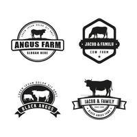 plantilla de diseño de logotipo de granja de vacas vector