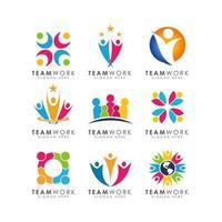 teamwork logo design vector