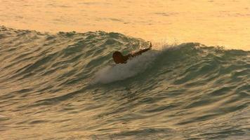 Surfer paddelt im späten Nachmittagslicht in die Welle, Zeitlupe video