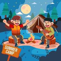 Summer Camp Night with Music vector