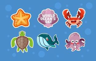 World Oceans Day Stickers vector