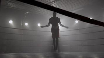 Corde à sauter boxer en ring de boxe video