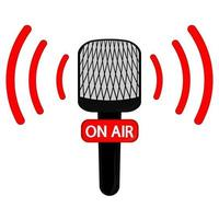 Vector Microphone flat icon for live broadcasting