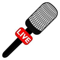 Microphone in flat style for live broadcasting vector