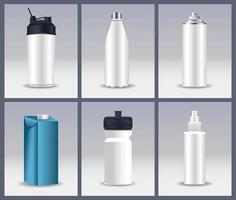 differents bottles packings products branding vector