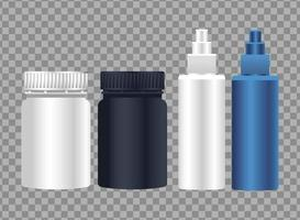 pots products and splash bottles branding isolated icons vector