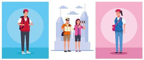 tourists people group scenes characters vector