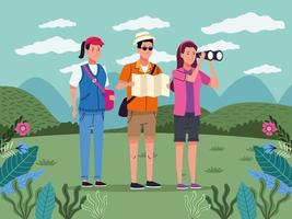 tourists people with papermap and binoculars on the landscape characters vector