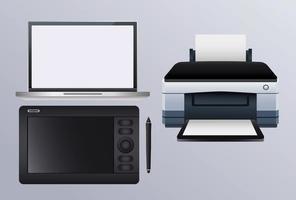máquina de hardware de impresora con cámara y computadora portátil vector